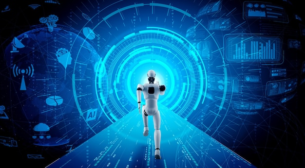 Бегущий робот-гуманоид, демонстрирующий быстрое движение и жизненную энергию