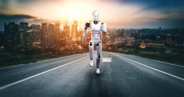 速い動きと活力を示す実行中のロボットヒューマノイド