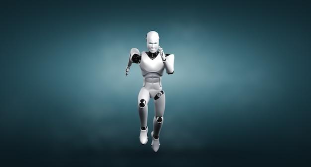 速い動きと活力を示すランニングロボットヒューマノイド