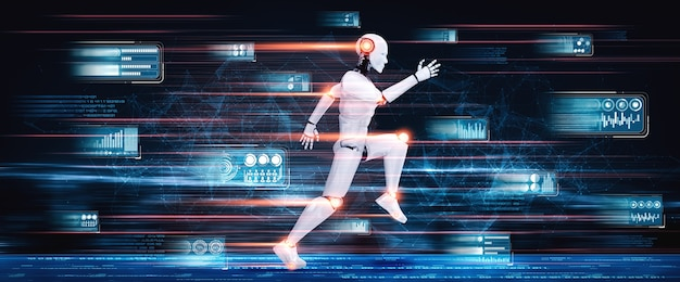 Running robot humanoid showing fast movement and vital energy in concept of future innovation development