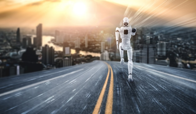 Running robot humanoid showing fast movement and vital energy