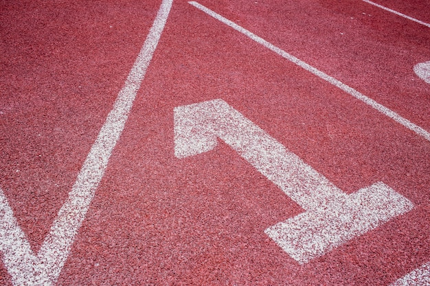 Running track closeup at first place