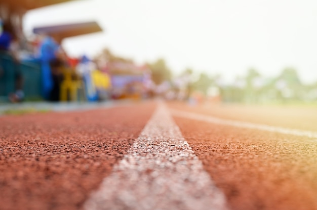Running track or racetrack with blurred background
