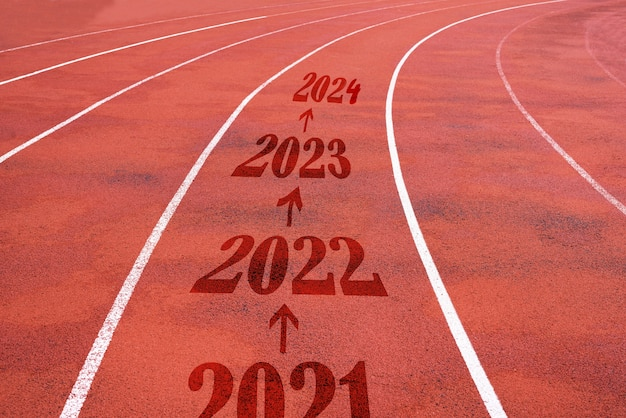 Running track at the stadium with a number from 2021-2023