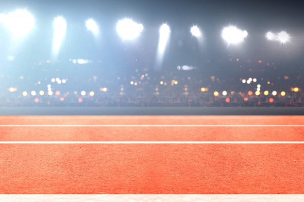 Running track and tribune with blurred lights