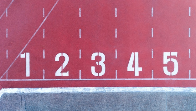 Running track with number in top view.