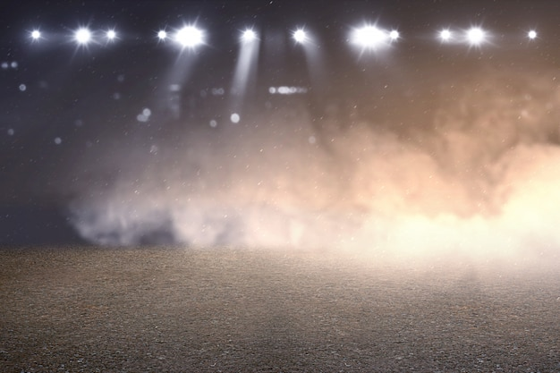 Running track with smoke and spotlights