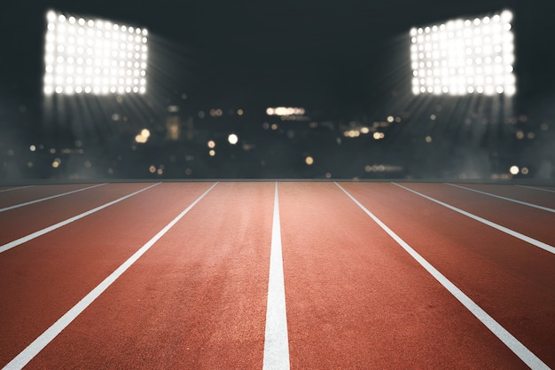 Running track with spotlight