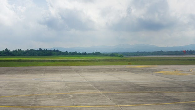 The runway of the airport.