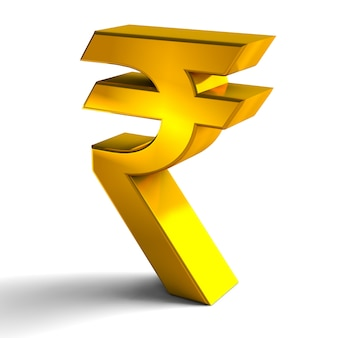 Rupee currency sign symbols gold color 3d render isolated on white background