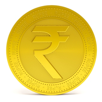 Rupee symbol sign on golden coin isolated on white background