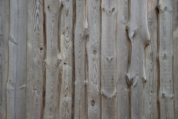 Rural background from wooden planks with knots in vertical parallel pattern. wood wall facade fragment texture.