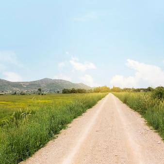 田舎道と農村のコンセプト