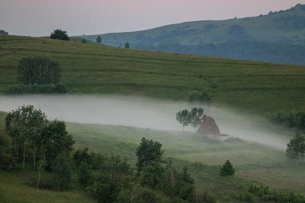 Пейзаж сельской местности в регионе трансильвания в румынии