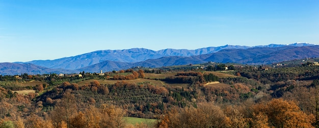 Rural countryside landscape of tuscany hills