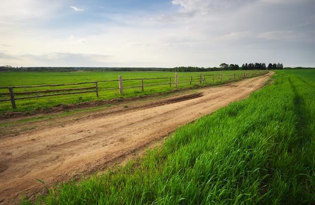 도 옆에 나무 울타리와 농촌 환경. 봄 풍경