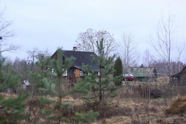 가을날 시골집 건물, 나무와 황새 둥지