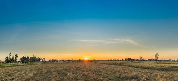 日の出の朝と美しい空の田園風景。