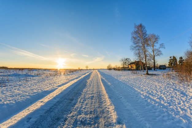 Rural landscape in winter on a sunny day