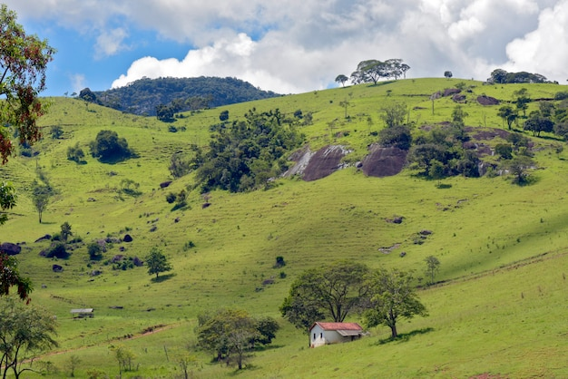 Rural landscape with grass, trees and small house on the hill. minas gerais, brazil