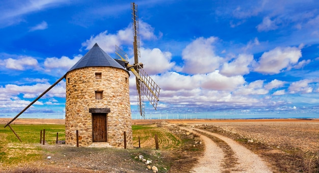 Rural landscape with a traditional windmill.