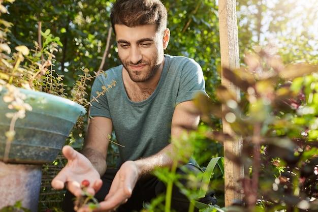 Vita rurale. chiuda in su del giovane agricoltore ispanico barbuto attraente in maglietta blu che lavora nella sua fattoria, raccogliendo bacche, piantando semi. giardiniere che osserva sopra le piante in giardino