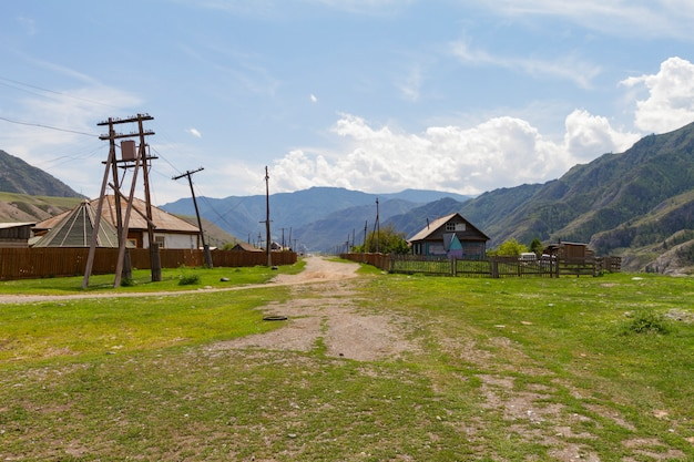 Rural lodges in altai mountains.