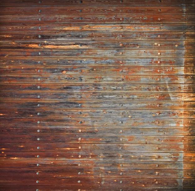 農村の古い、グランジの木製パネル。セレクティブフォーカス