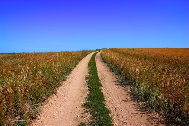 Сельская дорога и голубое небо