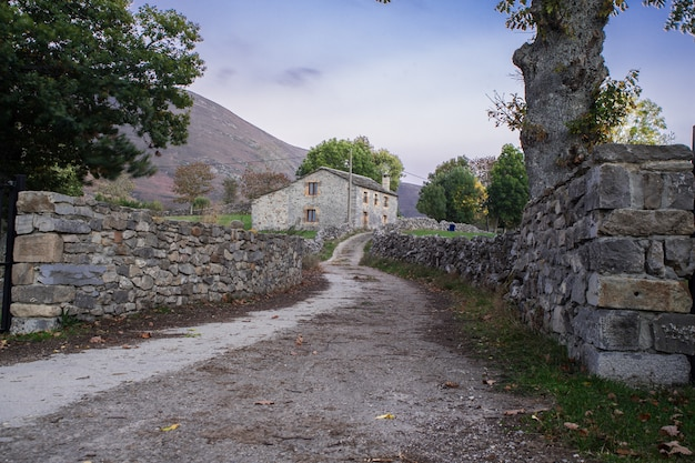 Rural road to a beautiful stone house