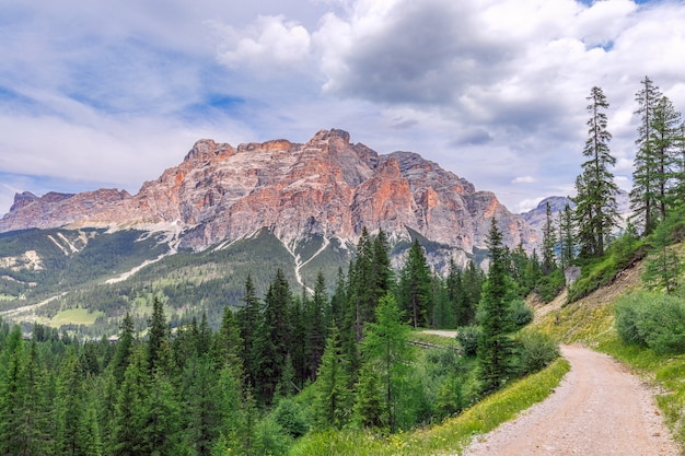 Rural road in green alpine valley with view of italian dolomites