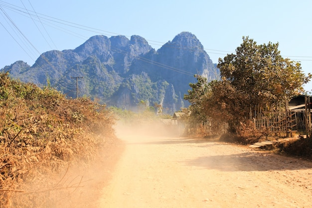 On a rural road ,vang vieng