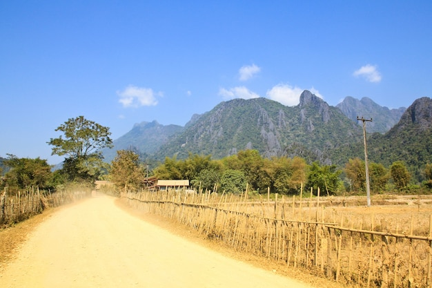 On a rural road vang vieng
