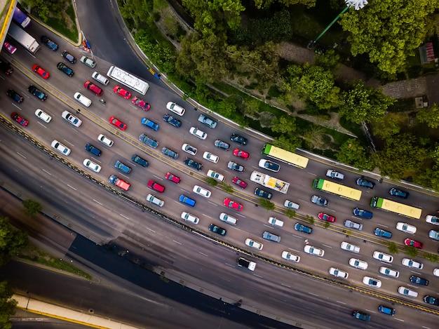 Rush hour traffic jam drone shot, aerial