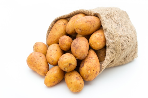Био russet картошка изолировала белую предпосылку.