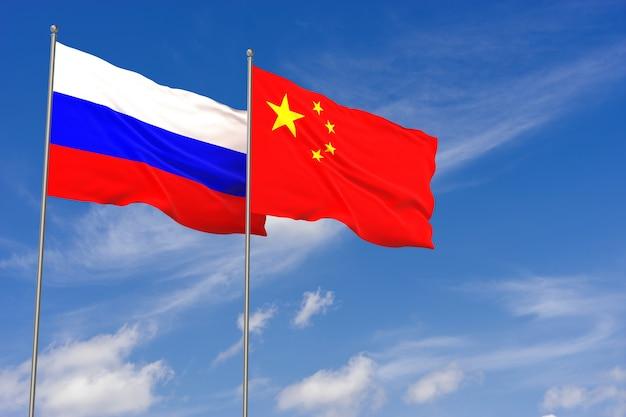푸른 하늘 배경 위에 러시아와 중국 플래그입니다. 3d 일러스트레이션
