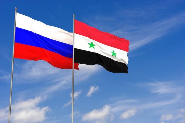 푸른 하늘 배경 위에 러시아와 시리아 플래그입니다. 3d 일러스트레이션