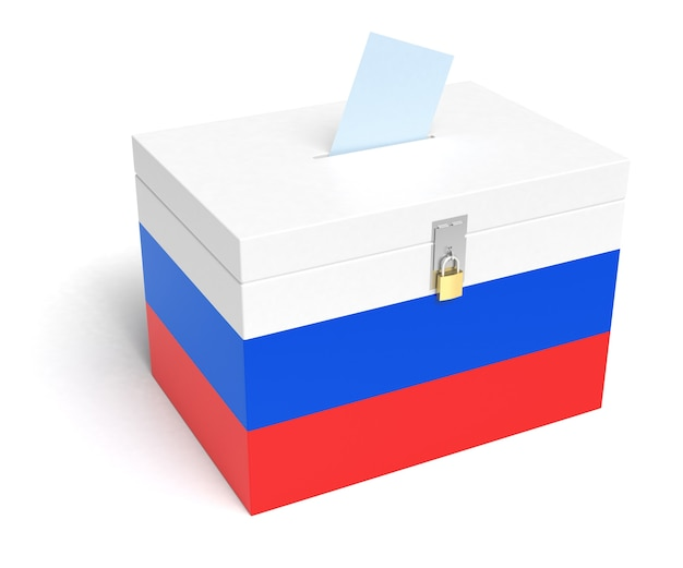 Russia ballot box with russian flag. isolated on white background.