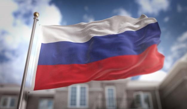Флаг россии 3d-рендеринг на фоне голубого неба