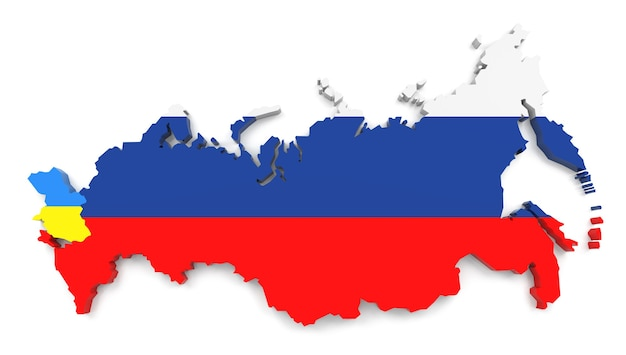 Russia flag on map of country