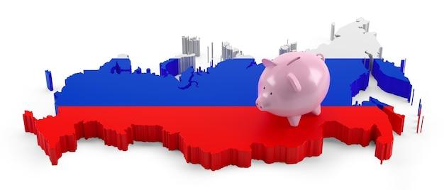 돼지 저금통에 러시아 국기 지도입니다. 3d 그림