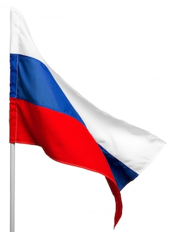 Russia flag waving on white background