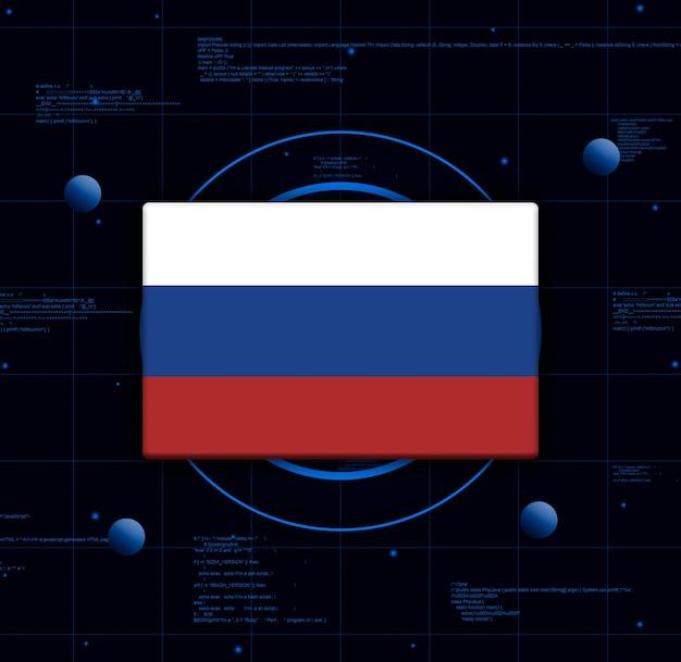 Флаг россии с реалистичными технологическими элементами, 3d-рендеринг