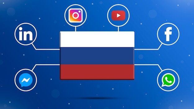 Russia flag with social media logos 3d
