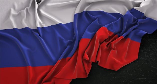 Флаг россии с морщинами на темном фоне 3d render