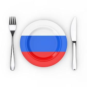 Концепция еды или кухни россии. вилка, нож и тарелка с российским флагом на белом фоне. 3d рендеринг