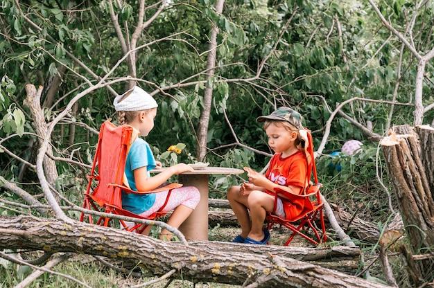 Россия, июль 2020 года - маленькие дети, мальчик и подружка устраивают веселый пикник и едят летом среди упавших деревьев в деревне в деревне на отдыхе