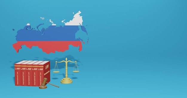 Russia law for infographics, social media content in 3d rendering