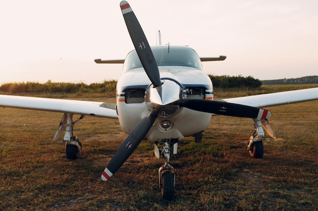 Russia, moscow - august 1, 2020: small private single engine propeller airplane at regional airport.