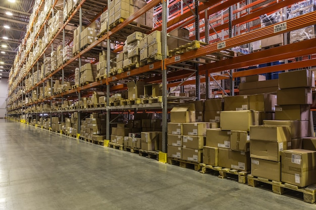 Russia, saint-petersburg, may 2017 - interior of warehouse with racks full of boxes and goods